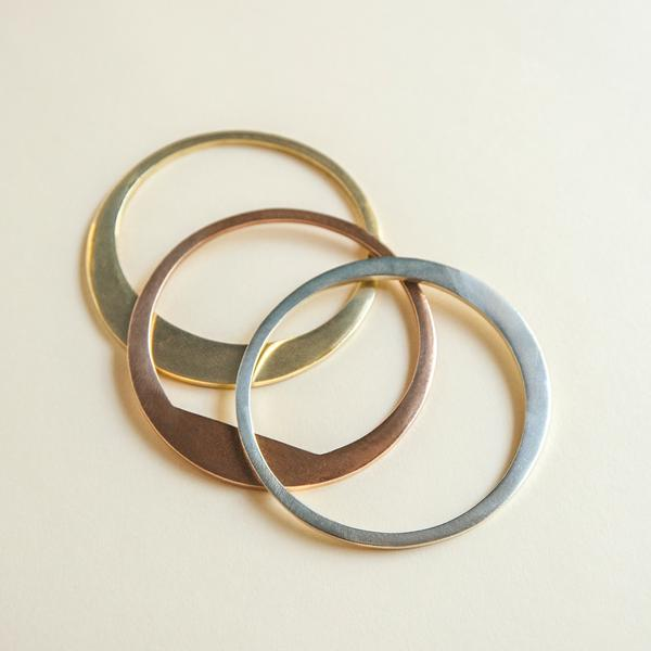 Set of Mixed Metal Eclipse Bangle Bracelets