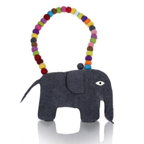 Felted Elephant Bag with Ball Handle
