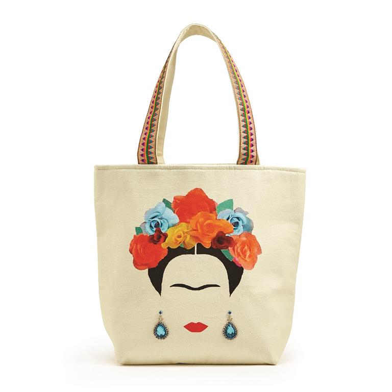 Frida Kahlo Canvas Tote Bag With Colorful Handles