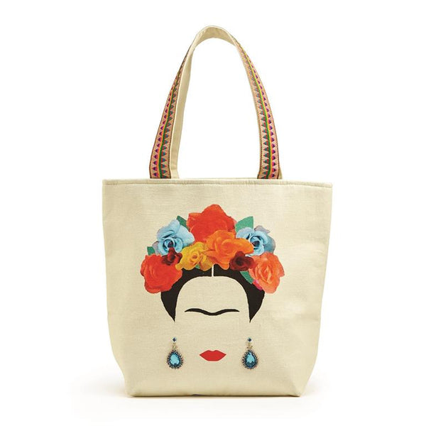 Frida Tote Bag with Colorful Handles