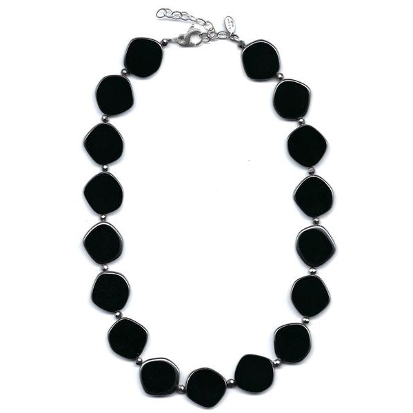 Full Circle Czech Glass Bead Necklace In Black