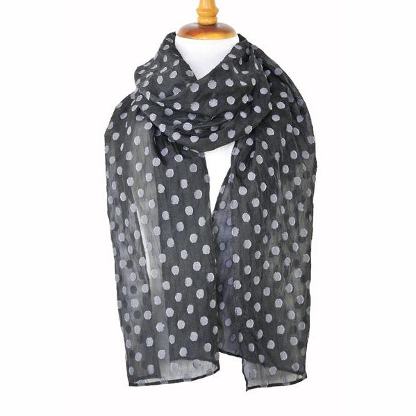 Gray Dots on Black Scarf
