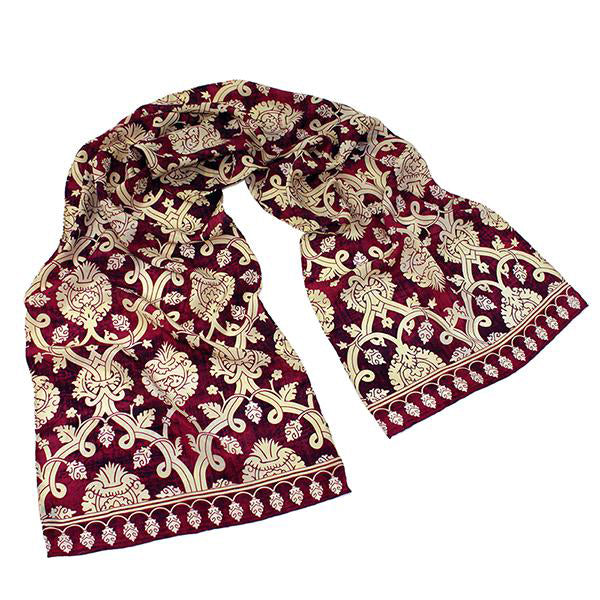 Islamic Red And Gold Silk Scarf