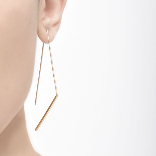 Jagged Hook Satin Gold Earrings