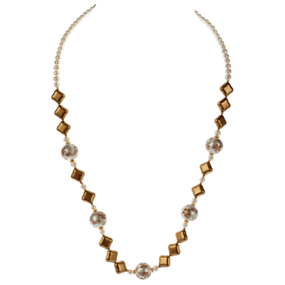 Japanese Cream Floral Tensha, Pearl & Matte Gold Glass Necklace