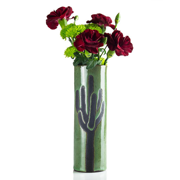 Etched Saguaro Ceramic Bud Vase by Jim Sudal
