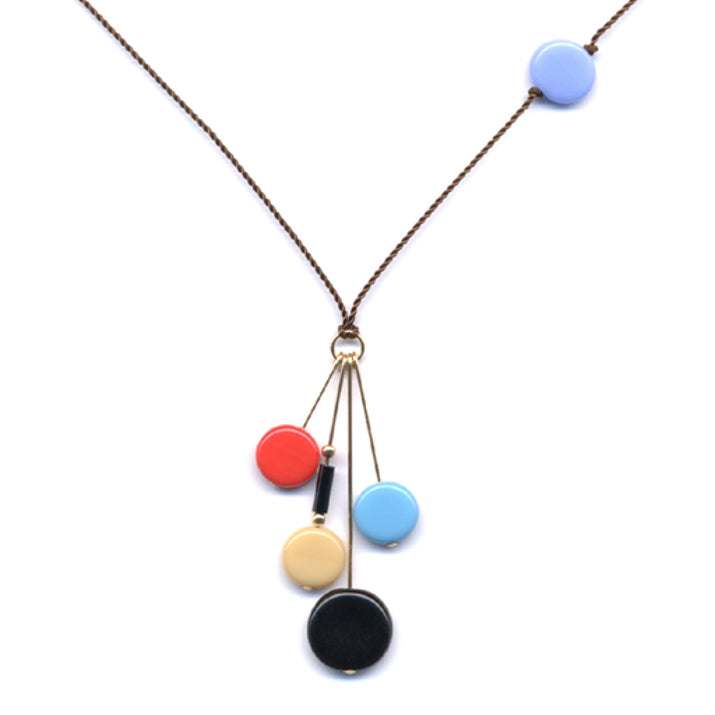 I. Ronni Kappos Multi-Colored Disc Drop Necklace