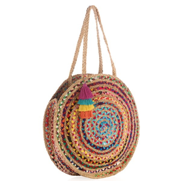 Mirabel Woven Jute Round Tote
