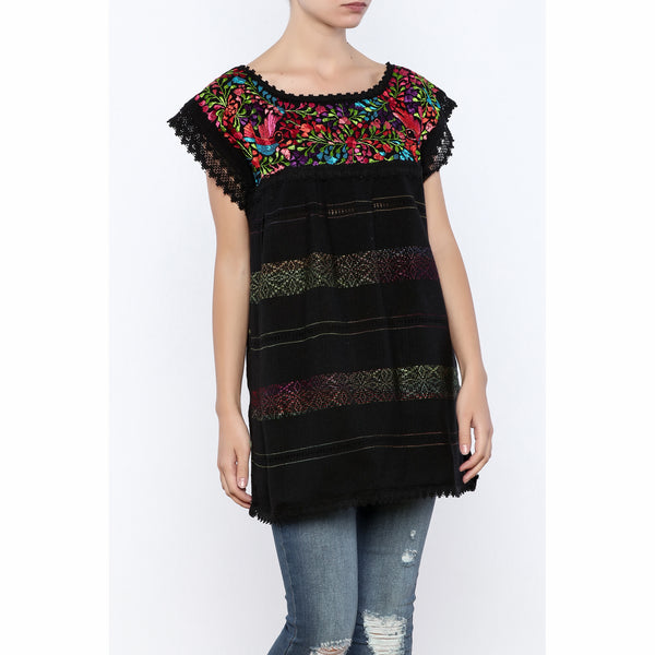 Multi-color Thread Peasant Blouse