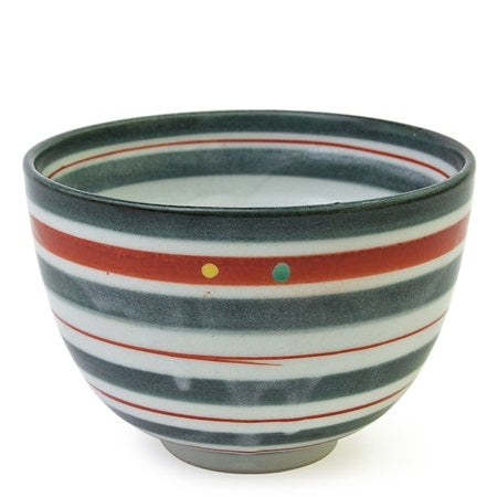 Green & Orange Striped Ceramic Bowl