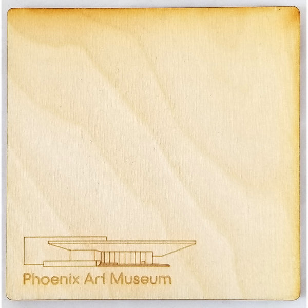 Laser Cut Wood Phoenix Art Museum Coaster Set