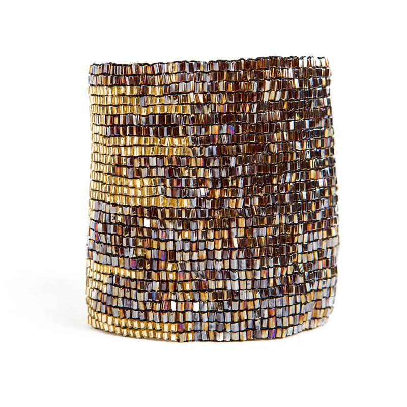 Brown + Gold Stretch Bracelet