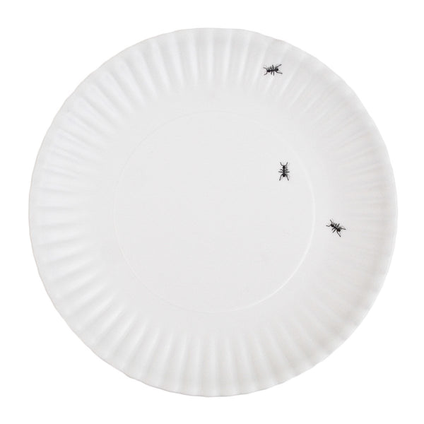 Reusable White Faux Paper Plates with Ants