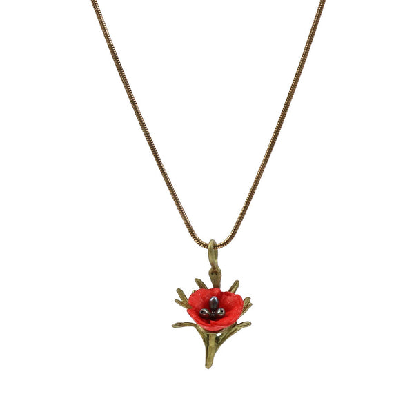 Red Poppy Pendant Necklace - Michael Michaud Design