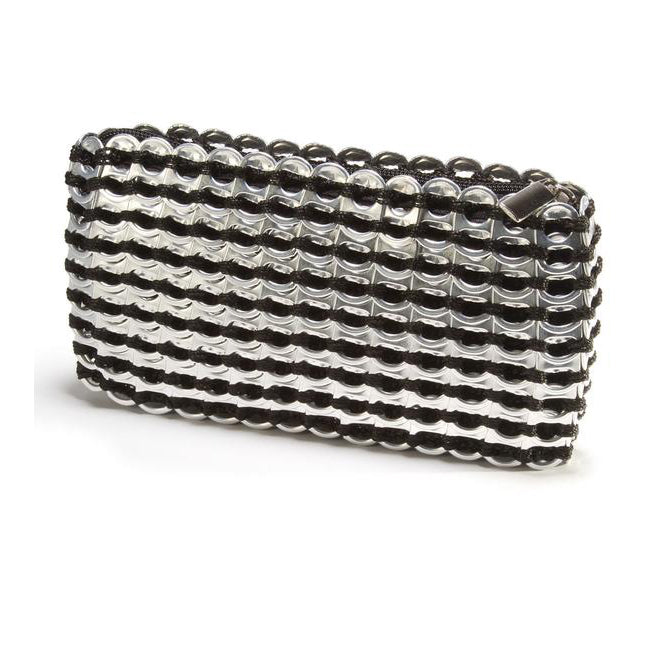 Silver Pop Top Metallic Clutch Purse