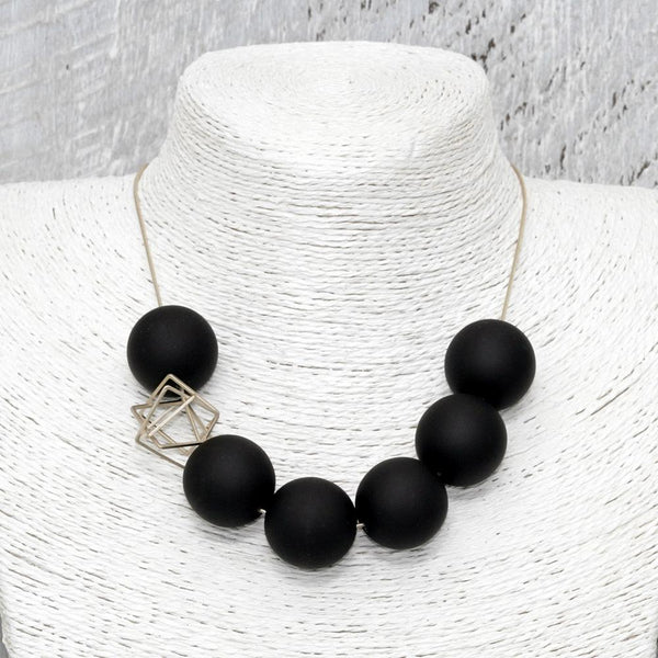Pursuits: Bonbons Necklace - Modern Matte Black Ball Necklace
