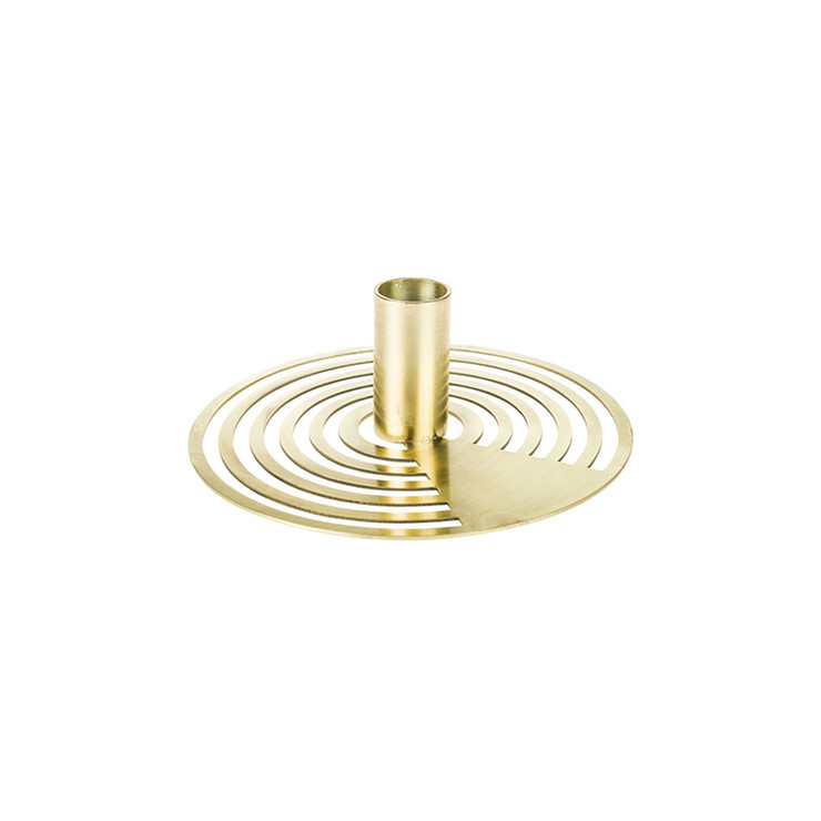 Gold Concentric Circles Taper Candle Holder