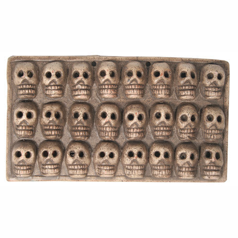 Mexican Folk Art Clay Skull Plaque Wall Hanging