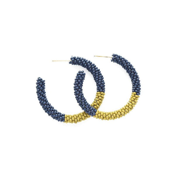Color Block Small Hoop Earring Navy + Citron