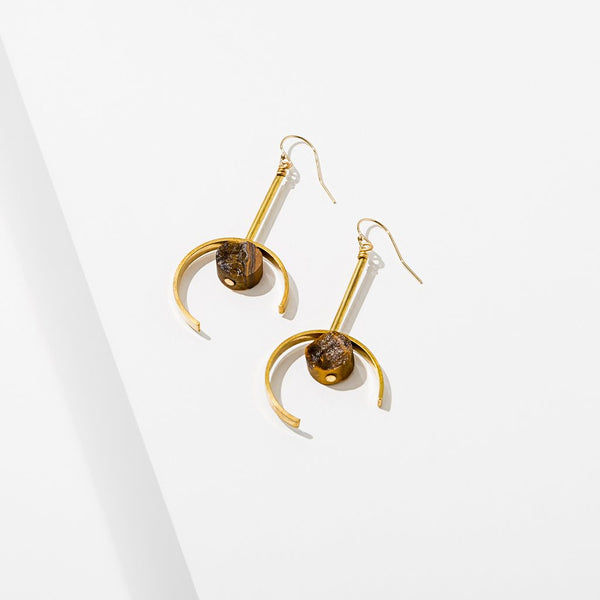 Santorini Earrings with Tiger's Eye Stone