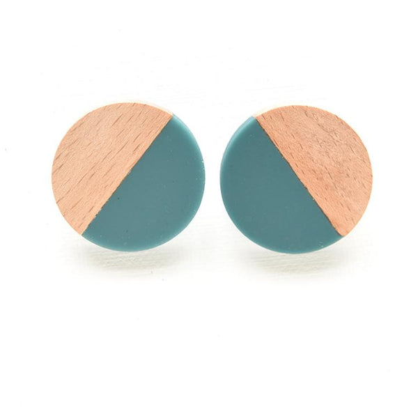 Wood & Teal Resin Circle Post Earrings