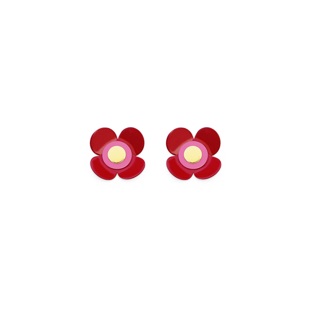 Isuwa Yonica Red Flower Earrings