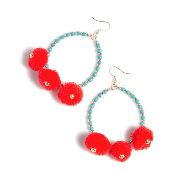 Zuma Multi-color Pom Pom Earrings