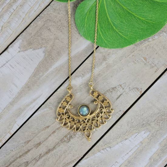 Brass Winged Pendant with Labradonite