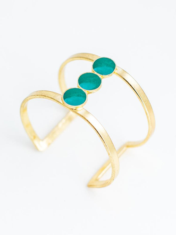 Tri-moon Turquoise Cuff