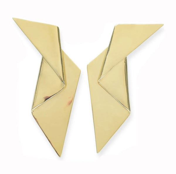 Gold Brass Origami Earring