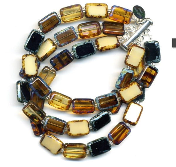 3 Strand Czech Republic Glass Bracelet