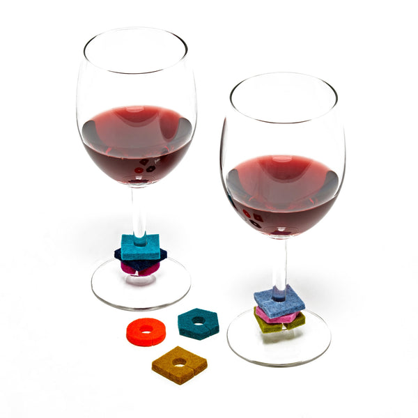 Hexagon Wine Charms