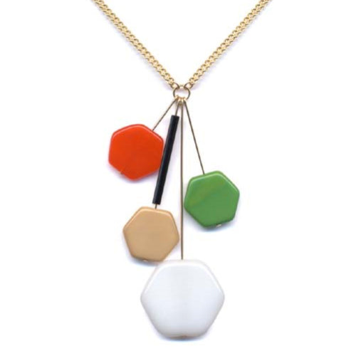 I. Ronni Kappos Multi-Colored Hexagon Cluster Necklace