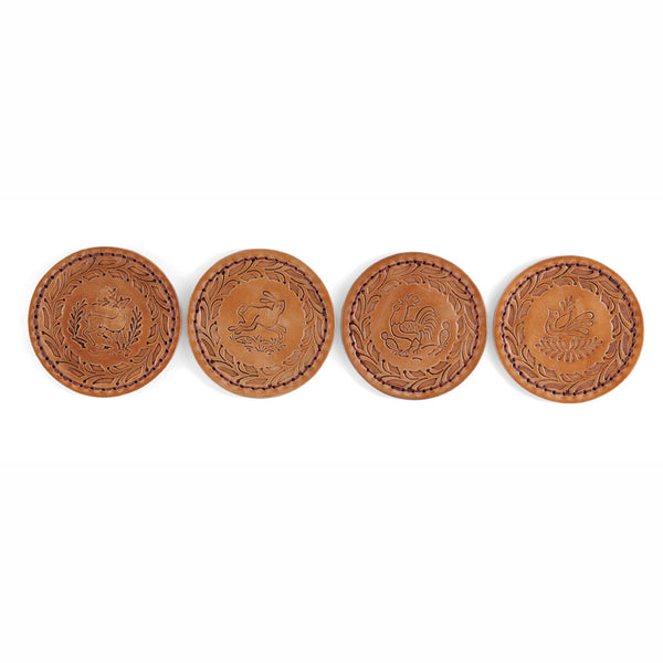Vegetable Leather Embossed Coasters - Set of 4