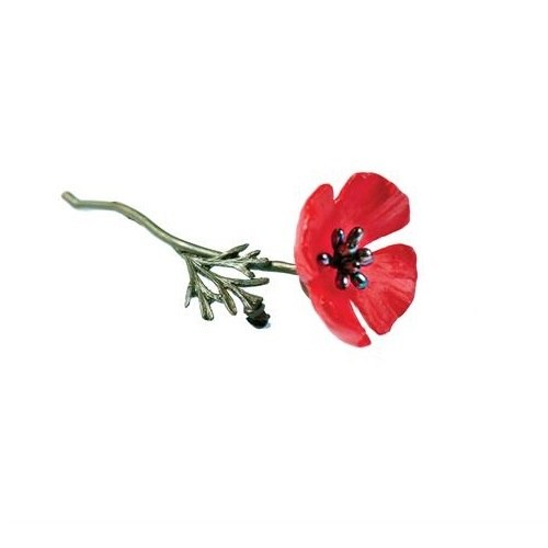 Red Poppy Brooch - Michael Michaud Design