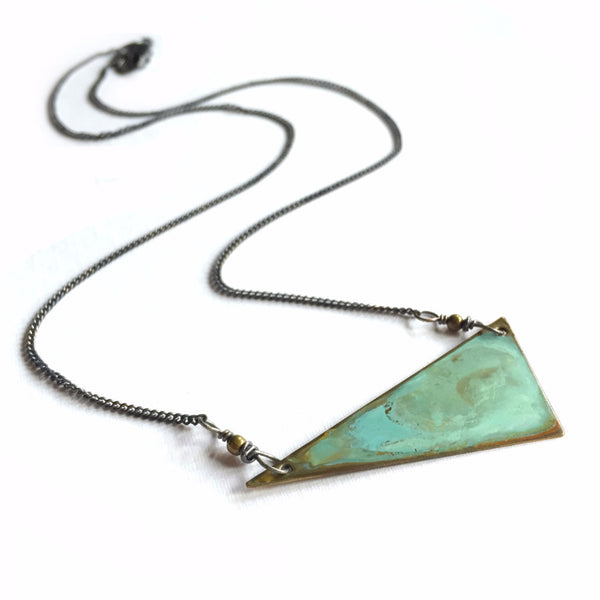 Verdigris Triangle Necklace