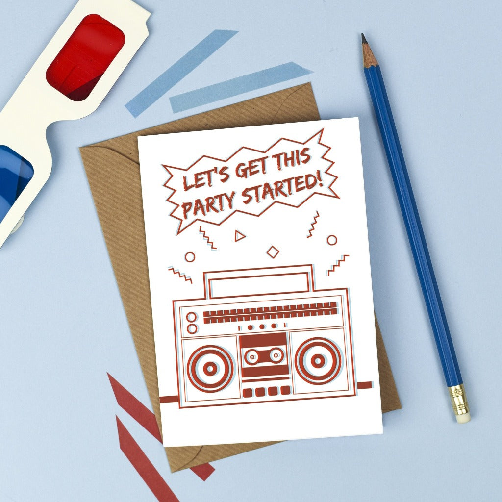 3D Ghettoblaster Birthday Card - Kate & The Ink Braw Wee Emporium