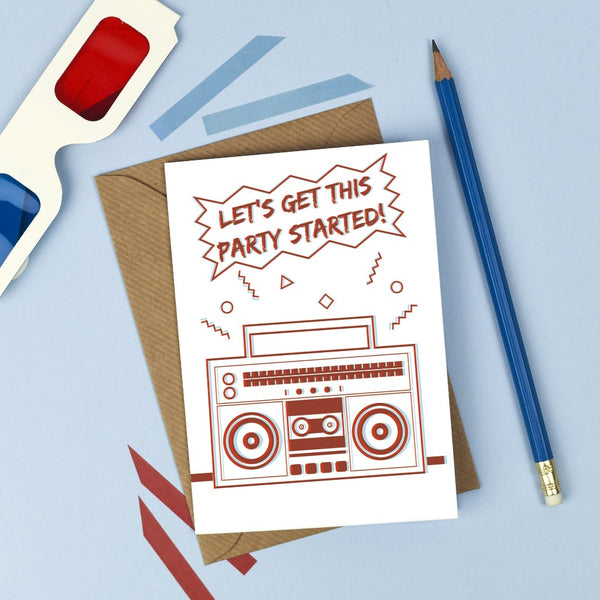 3D Ghettoblaster Birthday Card - Kate & The Ink - Braw Wee Emporium