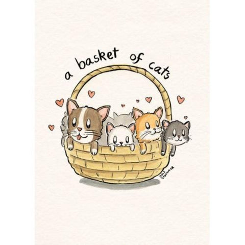A Basket of Cats Greetings Card - Neil Slorance