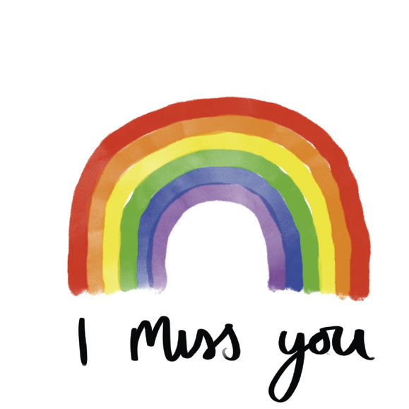 Rainbow I Miss You Card Greeting Card - Braw Wee Emporium Braw Wee Emporium