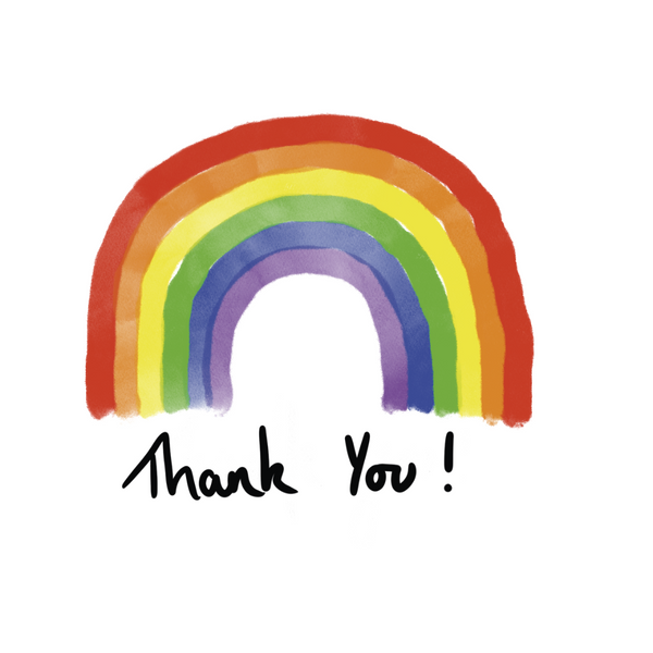 Rainbow Thank You Greeting Card - Braw Wee Emporium Braw Wee Emporium
