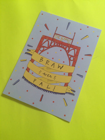 Claire Barclay Draws - Braw Wee Pal Postcard