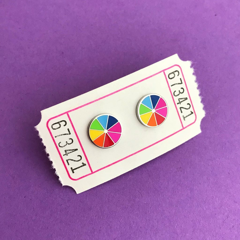 Bright Colour Wheel Earrings - Hand over Your Fairy Cakes - Braw Wee Emporium