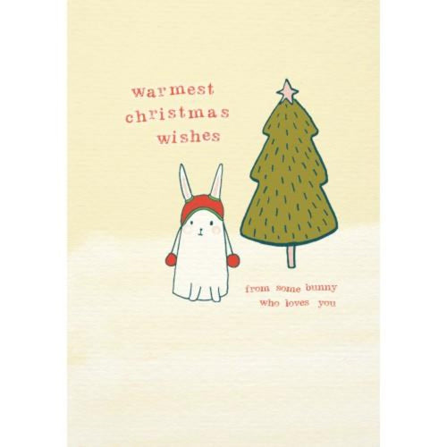 Warmest Christmas Wishes Bunny Christmas Card by Softly Spoken Braw Wee Emporium