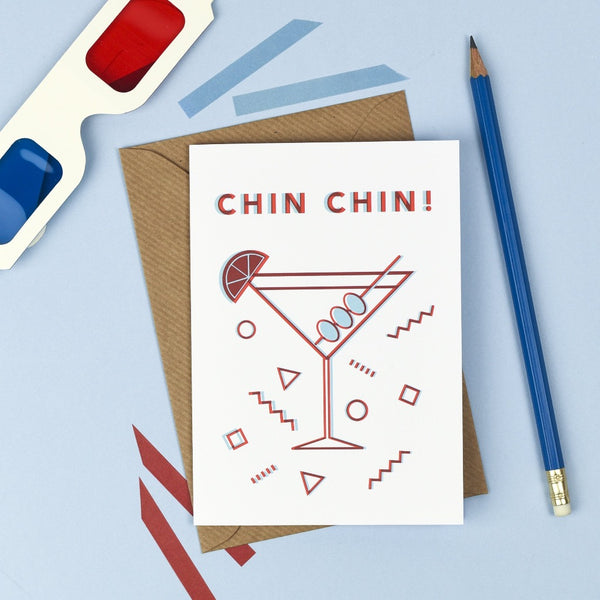 3D Chin Chin Card - Kate & The Ink - Braw Wee Emporium