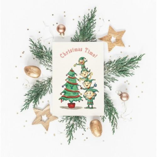 Christmas Elves Card by Softly Spoken Braw Wee Emporium