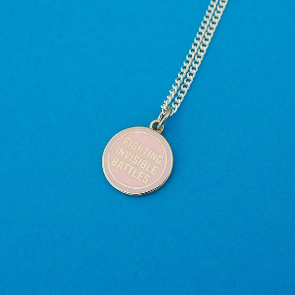 Fighting Invisible Battles Necklace - Hand Over Your Fairy Cakes Braw Wee Emporium