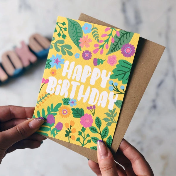 Happy Birthday Yellow Greeting Card - XOXO Designs by Ruth Braw Wee Emporium