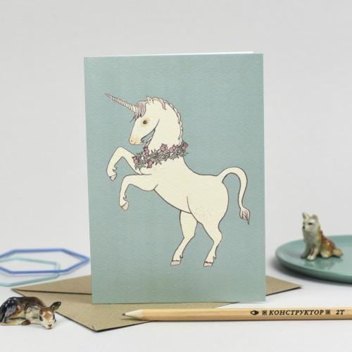 Unicorn Greeting Card - Scottish Draws Braw Wee Emporium