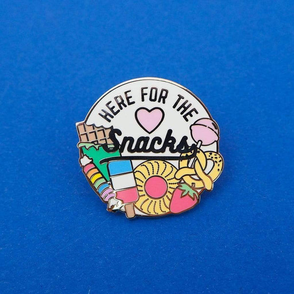 Here for the Snacks Enamel Pin - Hand Over Your Fairy Cakes Braw Wee Emporium